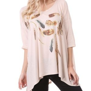 Neutral beige gray grey boho feather tunic tee top